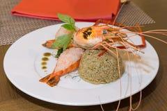 Piec na grillu homar krewetki ryż Zdjęcie Royalty Free