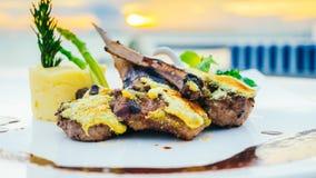 Piec na grillu jagnięcy mięsny stek Zdjęcie Royalty Free