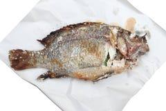 Piec na grillu Jedzenia - nad biały papierem Piec na grillu ryba Obrazy Royalty Free