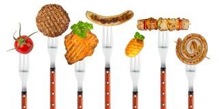 Piec na grillu jedzenie na rozwidleniach Obrazy Royalty Free
