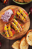 Piec na grillu kiełbasiana kanapka Fotografia Stock