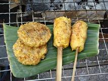 Piec na grillu kleiści ryż Obrazy Royalty Free