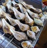 Piec na grillu konchy zbliżenie przy rynkiem Zdjęcie Stock