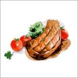 Piec na grillu kotlecik z pomidorami Akwareli jedzenia ilustracja wektor Obrazy Royalty Free
