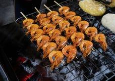 Piec na grillu krewetkowy jedzenie od Mae Kong rzeki obrazy royalty free