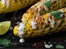 Piec na grillu kukurydzani cobs z kumberlandem, kolenderami, wapnem, papryką i serem, Zdjęcie Stock