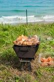 Piec na grillu kurczaków uda na płomiennym grillu. Zdjęcie Stock
