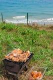 Piec na grillu kurczaków uda na płomiennym grillu. Fotografia Royalty Free