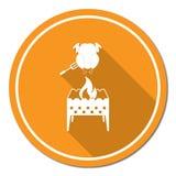 Piec na grillu kurczak ikona Obraz Royalty Free