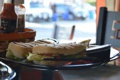 Piec na grillu kurczak kanapka z dłoniakami słuzyć na talerzu fotografia stock