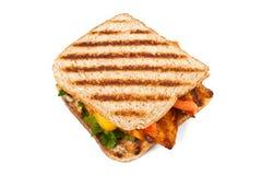 Piec na grillu kurczak kanapki na talerzu Zdjęcia Royalty Free