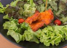Piec na grillu kurczak papryki pieprz z jarzynową sałatką nikt oliwi niskotłuszczową dietę zdrową Obraz Stock
