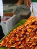 Piec na grillu kurczak przy rynkiem w Bangkok fotografia royalty free