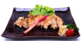 Piec na grillu kurczak Teriyaki, odizolowywający na białym tle z Cl Zdjęcie Royalty Free