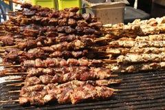 Piec na grillu kurczaka i wołowiny shish kebab obrazy royalty free