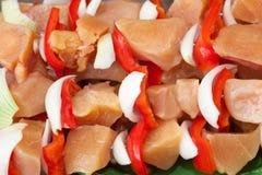 Piec na grillu kurczaka Shish kebaby Z warzywem zdjęcia royalty free