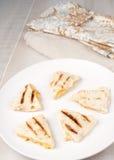 Piec na grillu mali serowi quesadilla kawałki Zdjęcia Stock