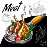 Piec na grillu mięso z warzywami w gorącej niecce Obraz Royalty Free