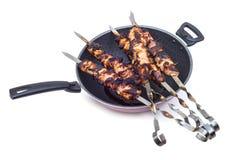 Piec na grillu mięso na niecce Obrazy Stock