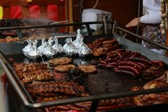 Piec na grillu mięsa Fotografia Stock