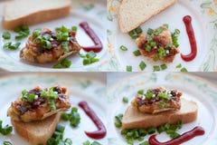 Piec na grillu mięsa i cebul skhlekbom na talerzu Zdjęcia Royalty Free