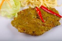 Piec na grillu mięso z zielonym currym Obraz Royalty Free