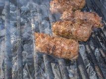 Piec na grillu Minced Mięsne rolki Obraz Stock