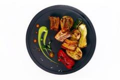 Piec na grillu miodowi wieprzowina ziobro zdjęcie royalty free