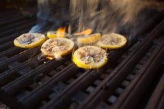 Piec na grillu ośmiornica podczas Hawajskiego zmierzchu Zdjęcie Stock