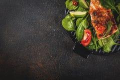 Piec na grillu łososiowego stku filet Obraz Stock