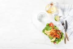 Piec na grillu łososiowego stku filet Obrazy Royalty Free