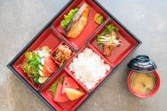 piec na grillu łososiowy bento set Obraz Royalty Free