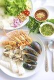 piec na grillu owoce morza Obrazy Royalty Free
