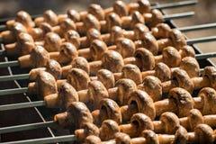 Piec na grillu pieczarki na skewers gotujących w brązowniku, zakończenie Obraz Royalty Free