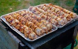 Piec na grillu pieczonego mięsnej rolki skewer BBQ cebulkową jagnięcą roladę Zdjęcia Royalty Free