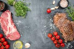 Piec na grillu ribeye wołowiny stek Obrazy Royalty Free