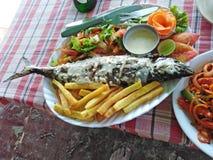 Piec na grillu ryba z warzywami i francuzem sma?y w restauracji goa zdjęcie royalty free
