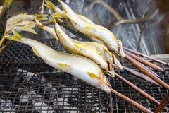 Piec na grillu rybi Japoński uliczny jedzenie Fotografia Stock