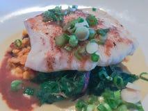Piec na grillu rybi polędwicowy stek z vagetable Obraz Royalty Free