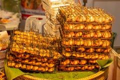Piec na grillu Rzeczne krewetki, duży świeży zdjęcie royalty free