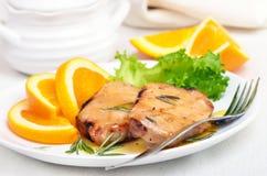 Piec na grillu stek z pomarańczowym kumberlandem Obraz Stock