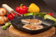 Piec na grillu stek z warzywami zdjęcia stock