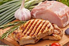 Piec na grillu stek z warzywami fotografia stock