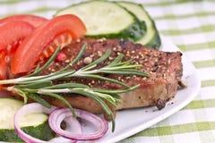 Piec na grillu stku mięso Zdjęcie Royalty Free
