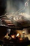 Piec na grillu w zmroku Obraz Stock