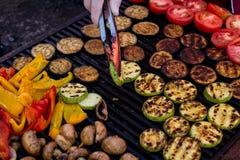 Piec na grillu warzywa na grillu Obrazy Stock