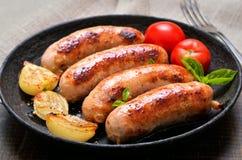 Piec na grillu warzywa i kiełbasy Obrazy Stock
