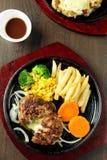 Piec na grillu warzywa i stek Obraz Stock
