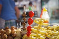 Piec na grillu warzywa na tacy Zdjęcia Stock