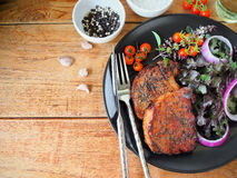 Piec na grillu wieprzowina kotlecika stek Obraz Royalty Free